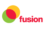 Fusion Logo with green, red and yellow linked circles with Fusion written in red writing.
