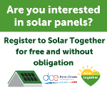 Green and white poster asking if you are interested in solar panels?