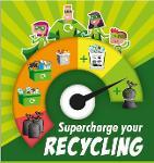 A family of superheroes wearing green capes and masks stand above a meter chart showing different waste containers with the title Supercharge your Recycling