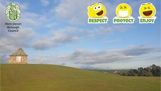 """An image of """"The Pimple,"""" Tavistock, with the tagline """"Respect, Protect and Enjoy"""" and the West Devon Borough council logo."""